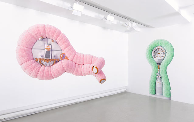 Installation view of Sentries at Anna Nova Gallery showing a colorful and ominous presence in the art gallery space